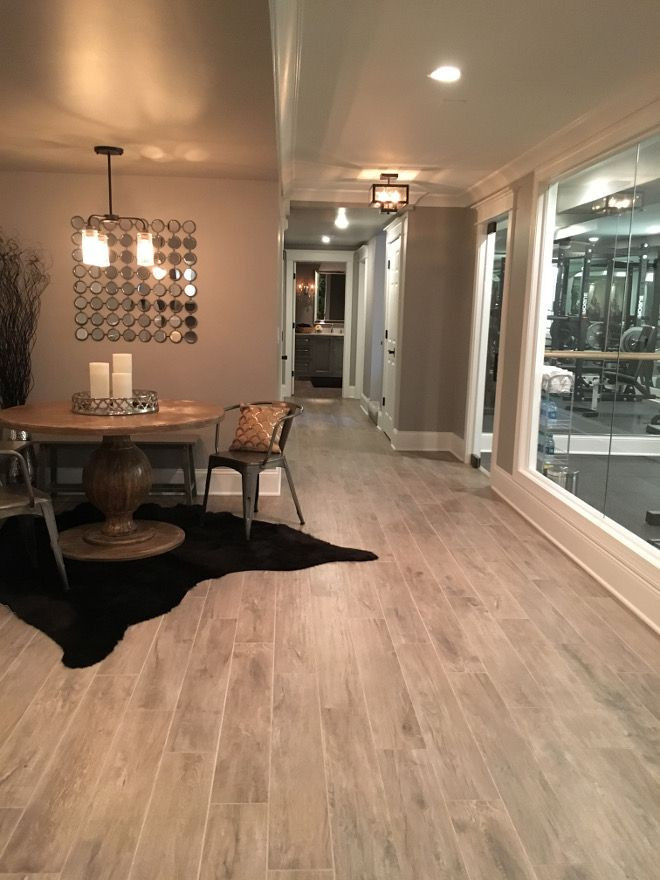 Basement Flooring Ideas. Flooring: Thomas Tile Faux Wood Grey Washed Porcelain Tiles