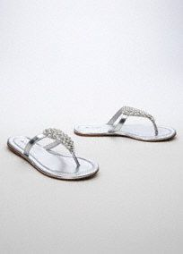 You will get comfort and style, with these lovely sandals! Perfect for your destination wedding, or to dance the night away at your reception.  This metallic sandal features beautiful clusters of crystals and pearls.  Comfortable flat sole.  Fully lined. Imported
