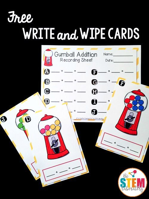 Free addition write and wipe cards! Perfect for kindergarten or first grade math. Fun addition game for a math center!
