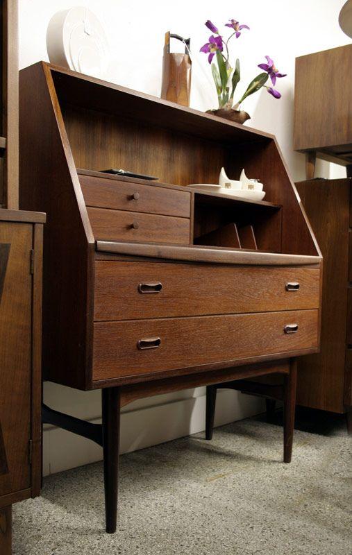 Danish teak secretary with pullout desk top mid century modern