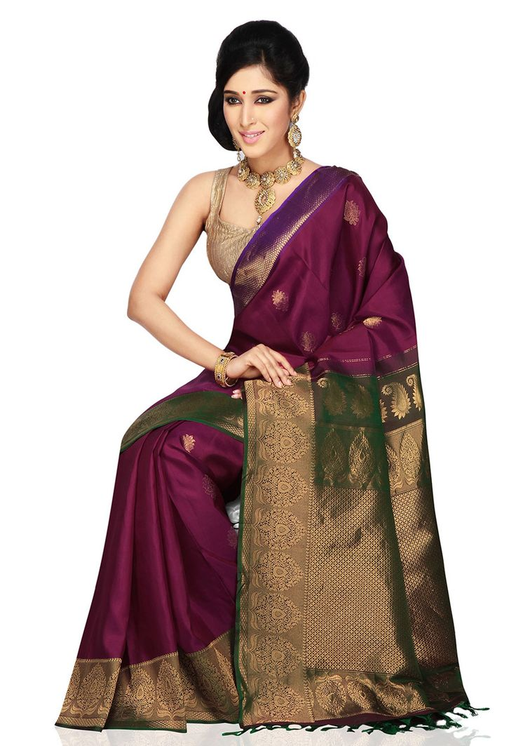 Dark Magenta Pure Gadwal Handloom Silk Saree with Blouse: SHA267