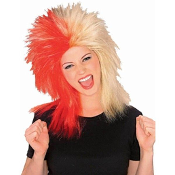 Sports Fan Red and Gold Wig