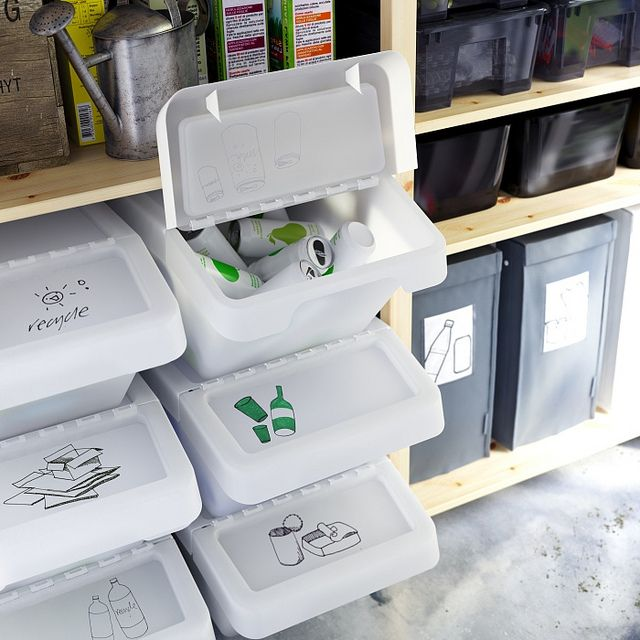 SORTERA recycling bins with folding lid make it easy to toss  in recyclables