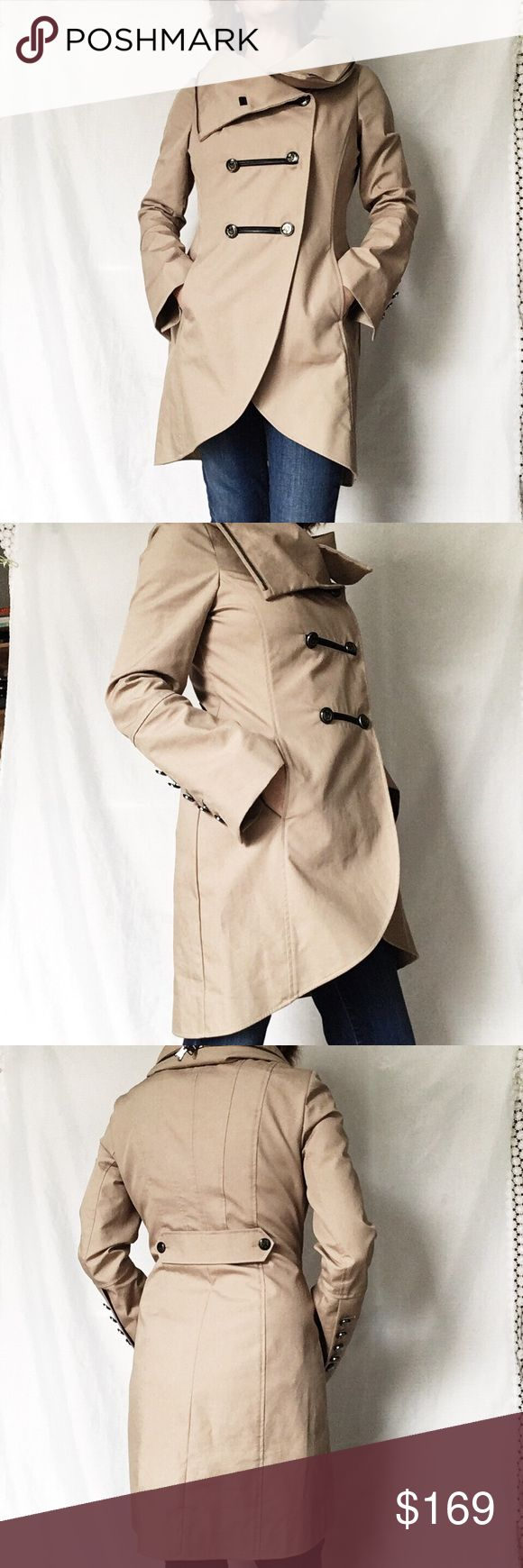 Mackage double breasted trench. Like new. Size M Feminine fitted style with flattering rounded hem.  Collar can be worn high or low.  Hidden hood in collar.  Slim fit.  Model is size 8-10. Mackage Jackets & Coats Trench Coats