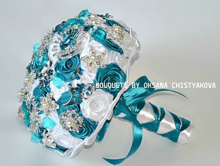 Bridal Broach Bouquet, Turquoise Wedding brooch bouquet, Jewelry Brooch Bouquet, Teal and Silver Wedding Brooch Bouquet, Bridal Bouquet by Chistyakova on Etsy https://www.etsy.com/listing/185983546/bridal-broach-bouquet-turquoise-wedding