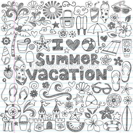 Ich liebe Sommer Urlaub hawaiianische tropische handgezeichnete skizzenhaften Notebook Doodles-Vektor-illustration — Stockilllustration #31489185