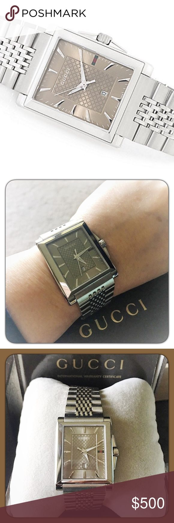 """Gucci Rectangular G-Timeless Swiss Watch Authentic Gucci G-Timeless Rectangular Swiss Made Watch with Sun brushed brown dial. Date window. 33mm L x32mm W case with sapphire crystal. Stainless steel bracelet 7 1/2"""" L and 26mm W. Dual deployment clasp. Made in Switzerland. The watch is gorgeous and in """"Like New"""" condition. Worn a few times. Has been sized to fit a 6 1/2"""" wrist but have extra links and all original packaging. $750 NEW Gucci Accessories Watches"""