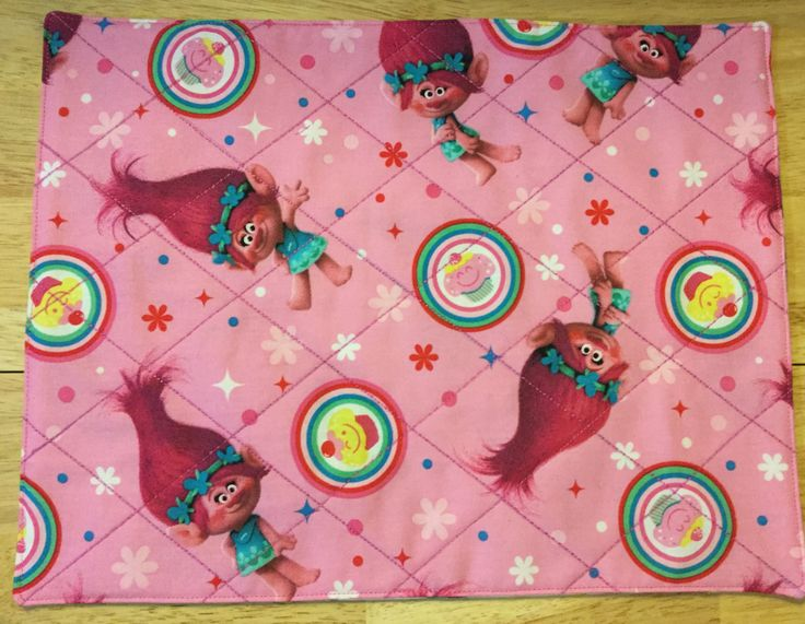 Reversible Quilted Pink Trolls Placemat, Children's Placemats, Lunch Mat, Fabric Placemats, Quilted Table Decor, Place Mats, Dresser Mat by HandcraftedbyCandy on Etsy