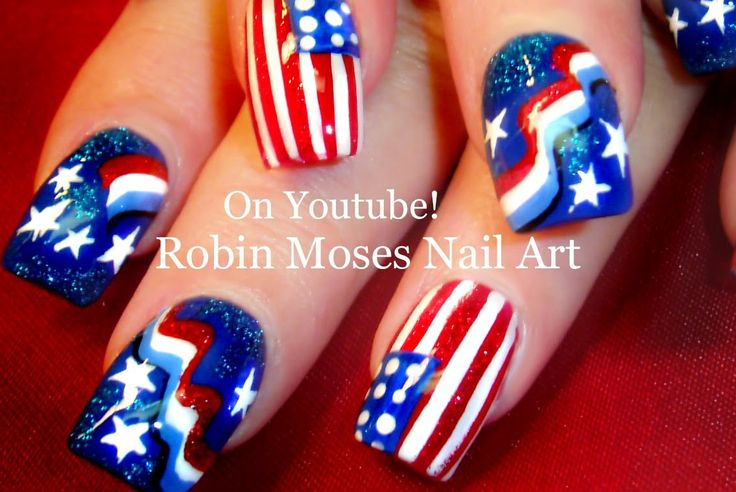 1685 best robin moses nail art videos images on pinterest for 4th of july nail art decoration flag