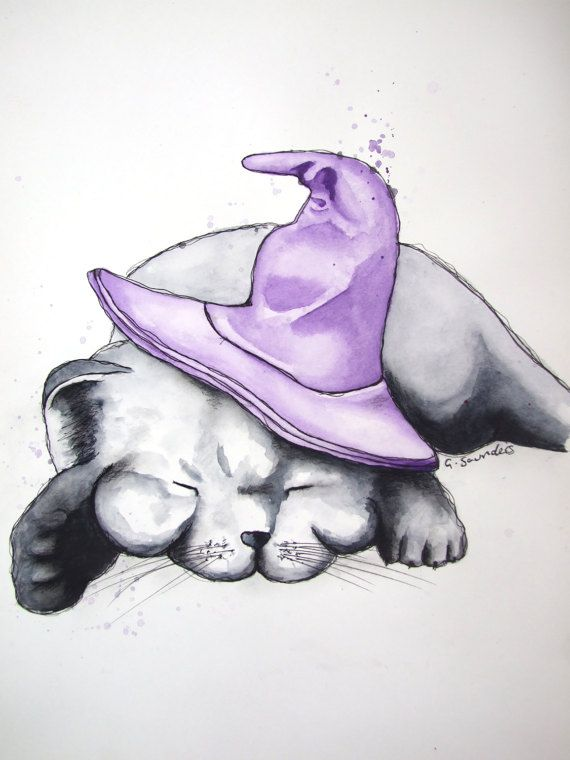 ORIGINAL 'Witches Familiar' Watercolour Illustration painting by Guinevere Saunders Artist SIGNED