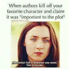 Book character deaths are murder meme.