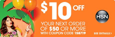 Valid for $10 off your next order of $50 or more from HSN TV, HSN2, HSN.com, HSN Mobile or HSN Shop By Remote. Expires 7/31/2015. Coupon Code here: http://offersnag.com/?s=HSN.com
