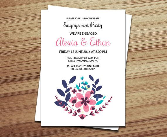DIY Engagement Party Invitation Template by WeddingTemplateStock - format of engagement invitation