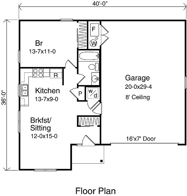 First Floor Plan of Narrow Lot   Ranch   Garage Plan 49023