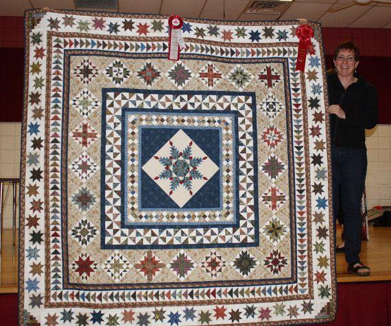 William Morris Stars // Oceněná Přikrývka // // Medailon Quilt Quilt Dědictví // Best of Show // Patchwork Quilt // pernaté hvězda