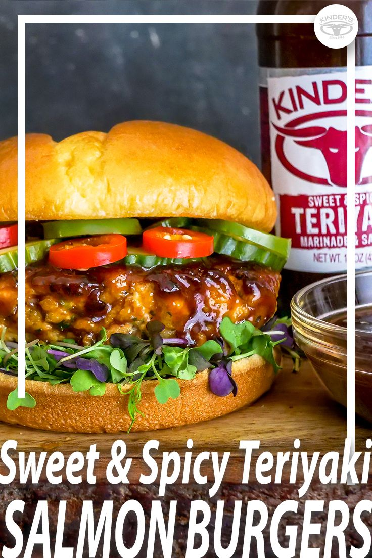Sweet Spicy Teriyaki Salmon Burgers With Pickled Cucumbers Jalapenos Chili Peppers Med Billeder Mad Opskrifter