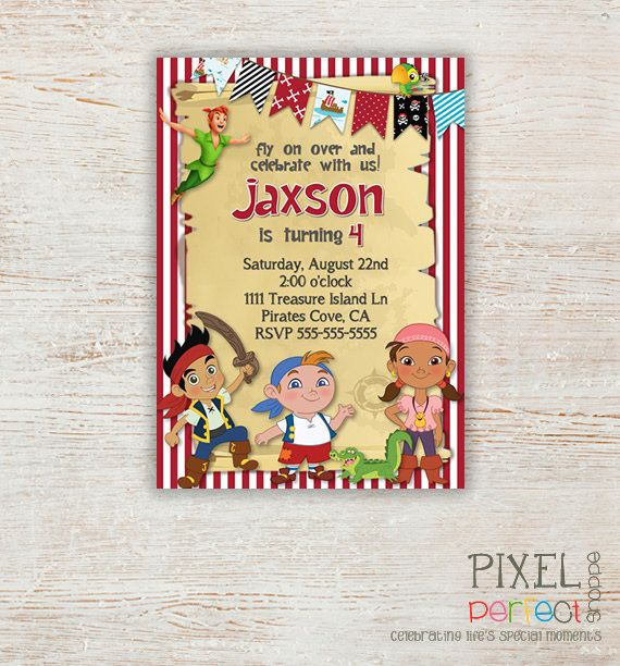 Jake and the Neverland Pirates Invitation by PixelPerfectShoppe