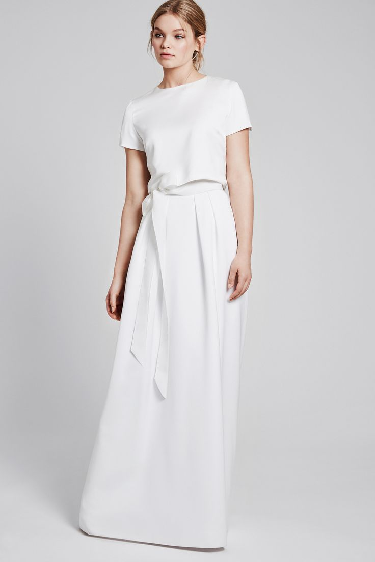 Modern simply wedding dress - ANINA-ISABEL in ivory with a ribbon belt - LOVE
