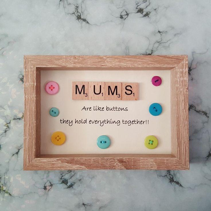 Mum Scrabble Art Picture, Oak Effect Frame, Wall Art, Scrabble Tiles #Handmade #Modern