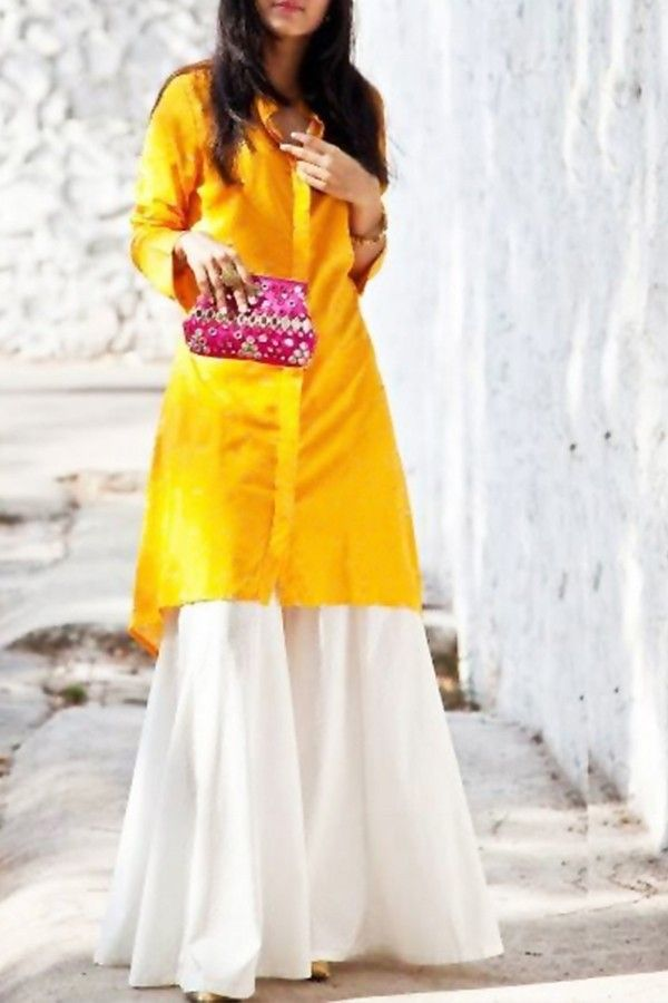 Set: Yellow smart kurti with stylish palazzo. Custom made available at Royal Threads Boutique. for order WhatsApp +91 9646 916 105 or email us at royalthreadsboutique14@gmail.com