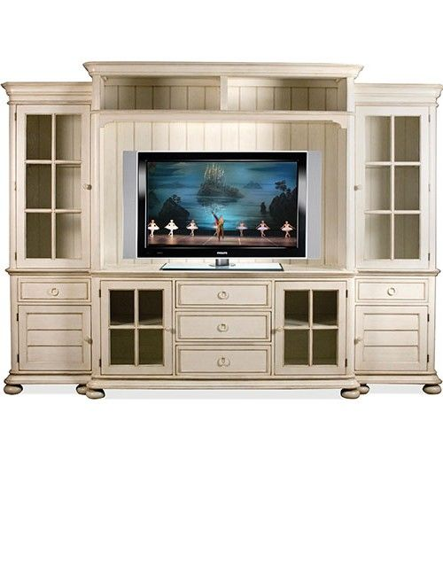 White Entertainment Center With Glass Doors