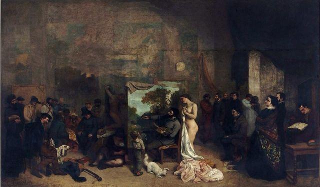 Gustave Courbet (1819 - 1877) - L'Atelier du peintre, Allégorie Réelle déterminant une phase de sept années de ma vie artistique, 1864-65, 6mL