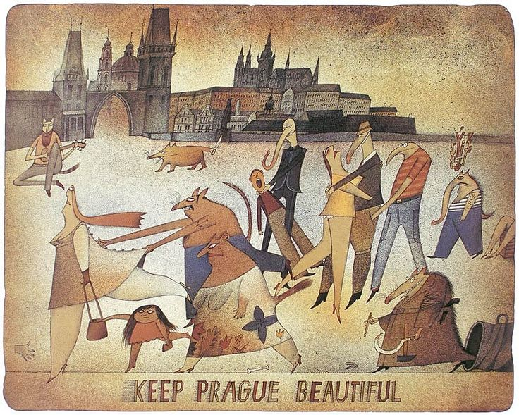 Adolf Born illustration Prague cityscape