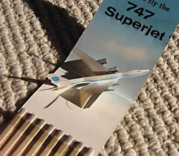 1970 Pan Am Boeing 747 Matchbook with 3D plane