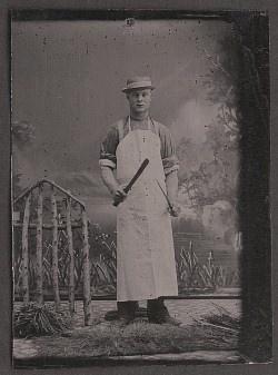 Tintype Photo Muscular Butcher Occupational Knife Sharpener Apron Cap Circa 1865