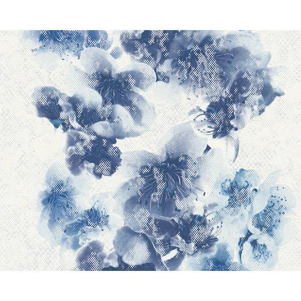 floral trail wallpaper in blue and white design by bd wall u20ac42 liked on polyvore featuring home home decor wallpaper wallpaper samples blue white