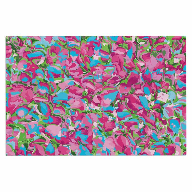 "Empire Ruhl ""Abstract Spring Petals"" Pink Teal Decorative Door Mat"