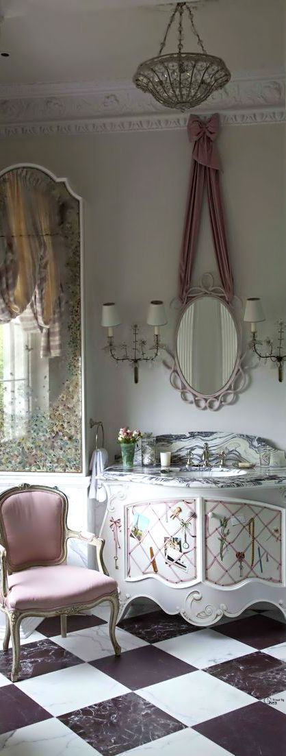 French Flair Bathroom - what a fabulous mirror and cupboard
