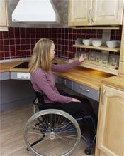 """Kitchen Handicap Accessible The stovetop is right there next to her under the """"fan"""""""