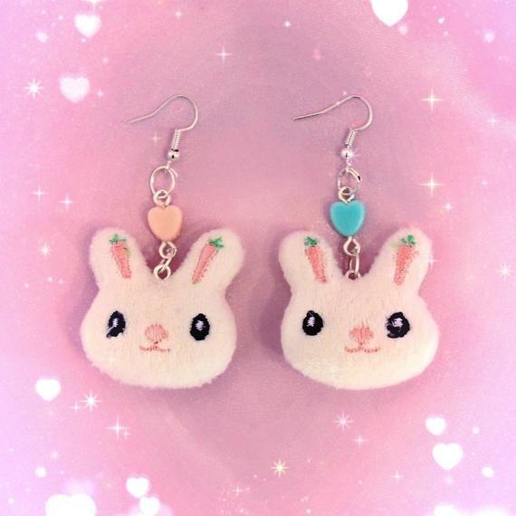 Cute Fairy Accessory Kawaii Pastel Safety Pin Earrings Jewellery Handmade Pink