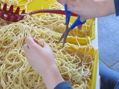 Spaghetti Sensory bins.  The kids went crazy for these!  They got to practice fine motor skills by cutting the spaghetti with scissors.