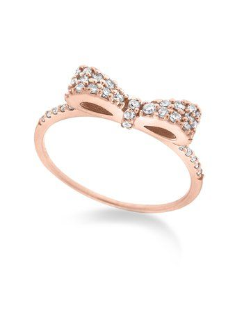 Bow Stack ring in 14k rose gold with 0.25 ct. t.w. diamonds.