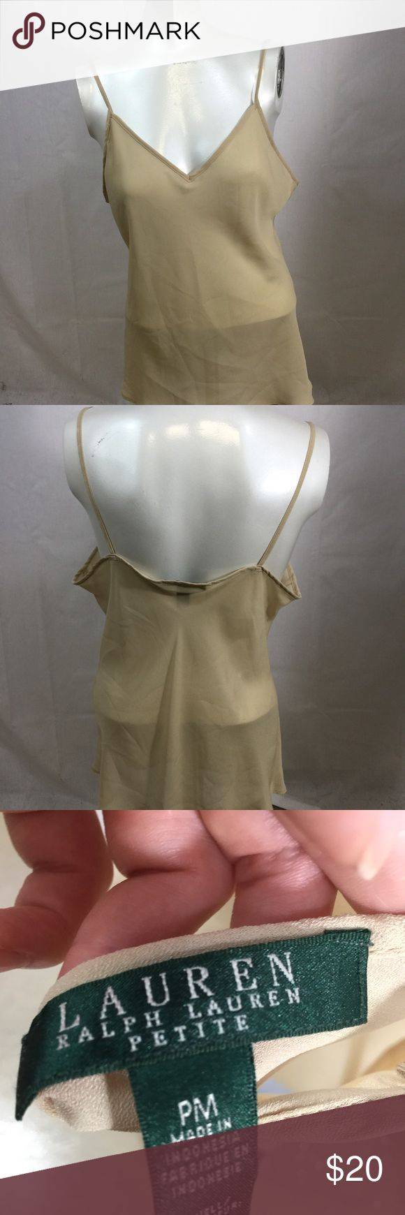 Ralph Lauren sheer beige cami This cami can be worn by itself or with a cute bandeau. It's sheer and beige. Box f Lauren Ralph Lauren Tops Camisoles