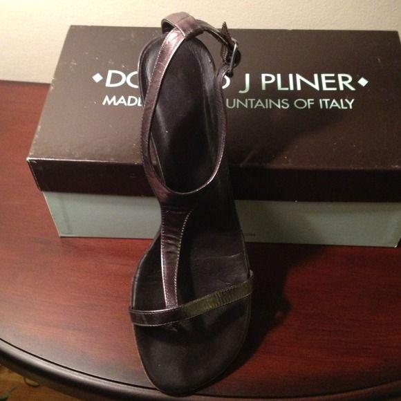 Donald J. Pliner Shoes - Donald J. Pliner Pewter sandal with one inch heel.