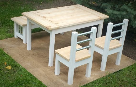 Kids Farmhouse Table with two Chairs and a by TheSteelAesthetic