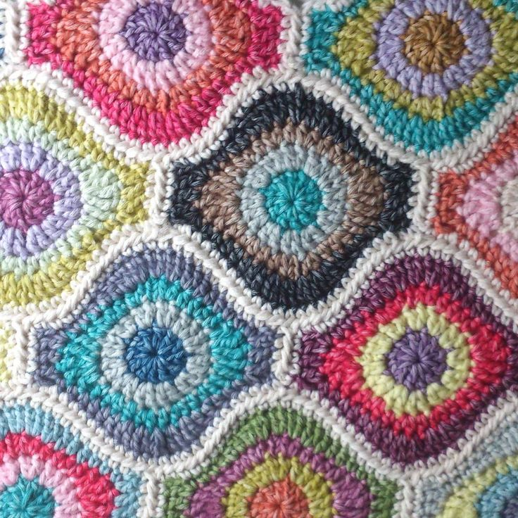 """Gorgeous and different """"squares"""" in this blanket!"""