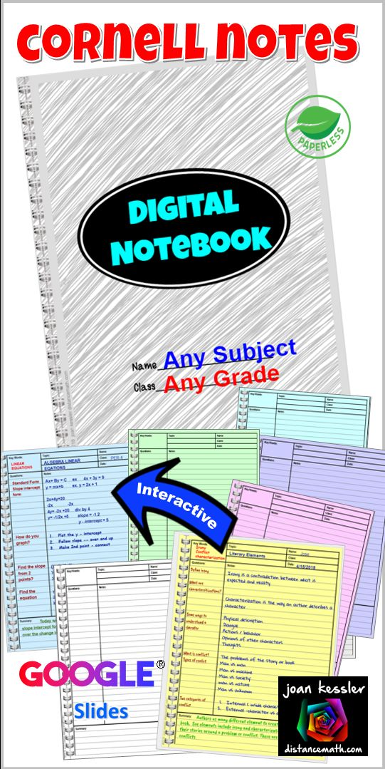 Cornell Notes Digital Interactive Notebook for all grades and subjects. Perfect way for students to take notes and learn to organize.
