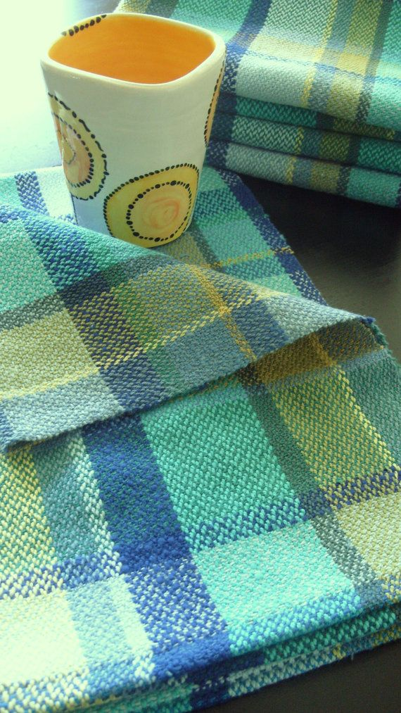 Handwoven tea towel in green plaid