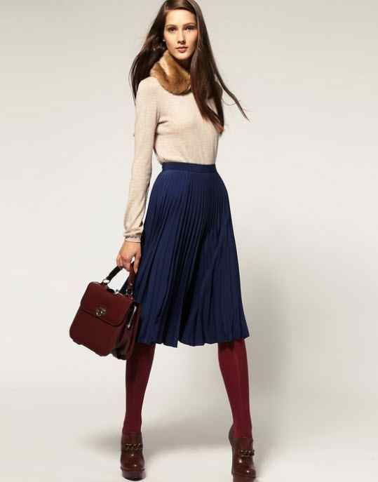 I could try this with my navy skirt and maroon boots