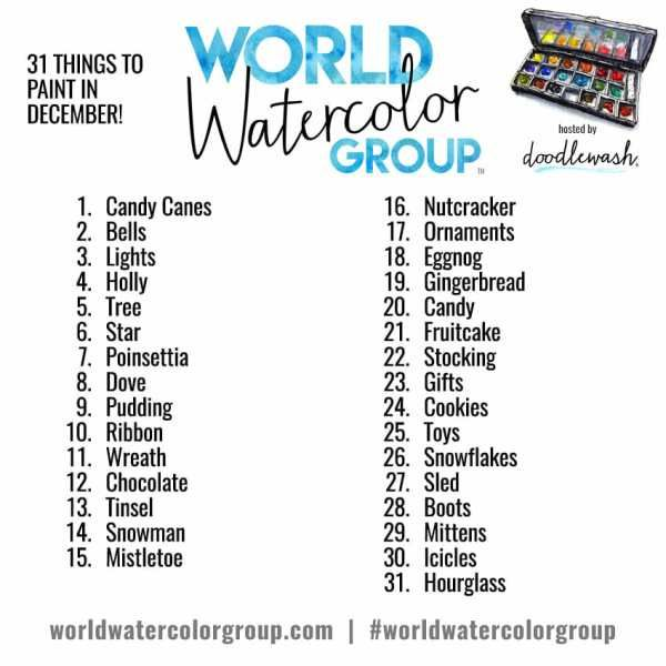 Monthly Watercolor Sketching Art Challenges Prompt Lists