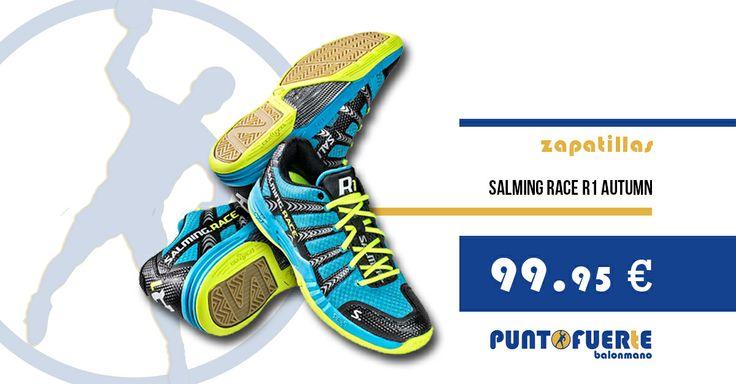 Zapatilla Salming R1 Autumn http://btlr.me/1kj6JMq Calzado de gama alta. Con capacidad de torsión y estabilizador lateral. En descuento. Antes (125€) #Salming   #zapatillas   #balonmano   #zapatillasdebalonmano