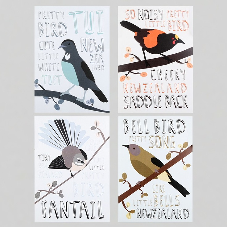 Alice Berry Print Set - Birds - Prints & Posters | NZ Art Prints & Poster Store | endemicworld.com