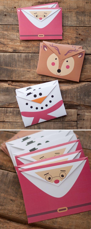 Sobres imprimibles de Santa Claus, reno y muñeco de nieve