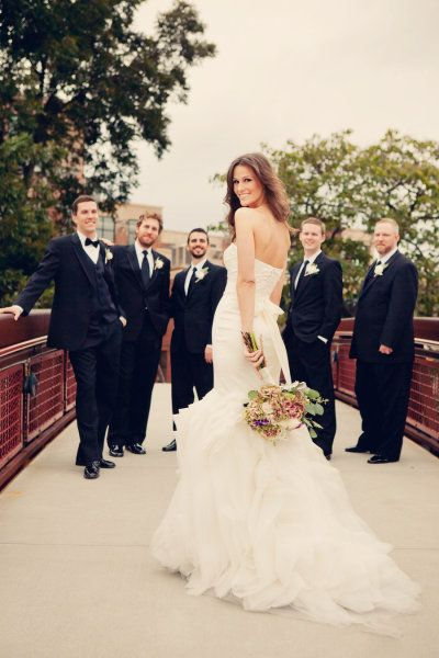 Cute ones with the bride and groomsmen or groom and bridesmaids.