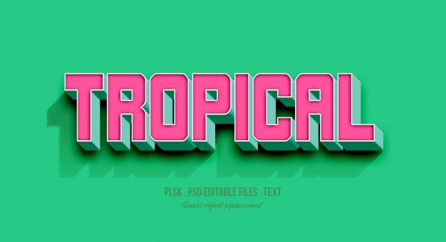 Tropical 3d Text Style Effect Mockup Premium Psd Premium Psd Freepik Psd Mockup Template Fashion Typography 3d Text Freepik Graphic Resources