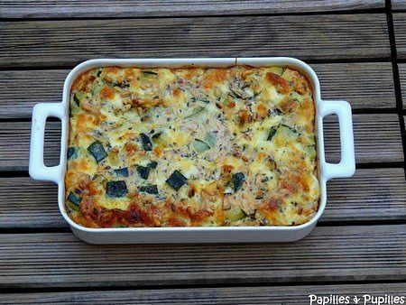 Clafoutis de courgettes - Gratin de courgette à la mozzarella, à la menthe et aux pignons de pin